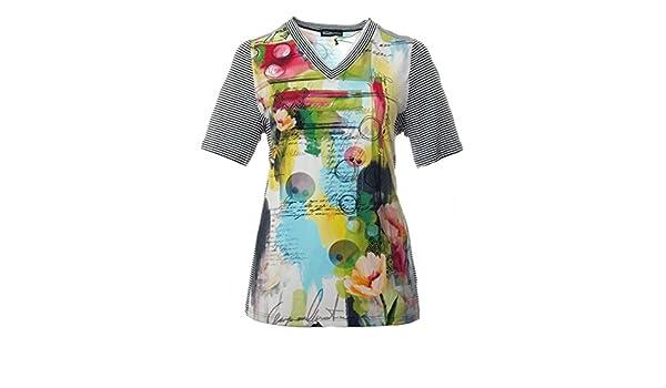 Seeyou T-Shirt mit V-Ausschnitt große Damen Größen A-Linie Grün Bunt kurzarm