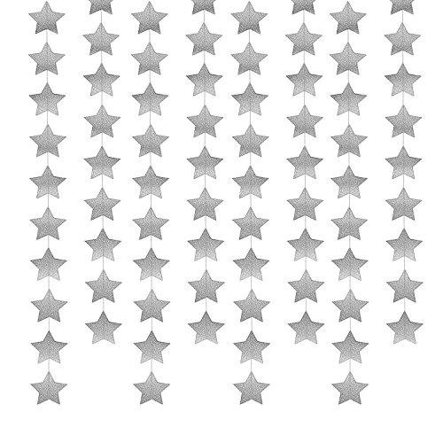 (Whaline 52 Fuß Sterne Papier Garland Bunting Banner hängende Dekoration für Hochzeit Urlaub Party Geburtstag, 2,75 Zoll)