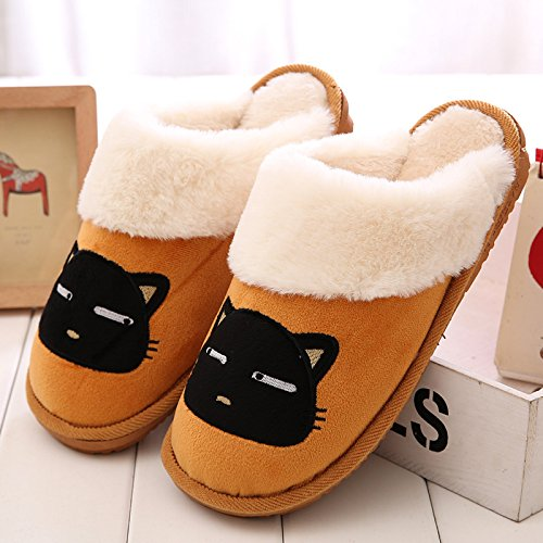 DogHaccd pantofole,Pantofole di cotone femmina SOGGIORNO DI CASA AUTUNNO INVERNO piscina caldo inverno giovane Cartoon carino pantofole in lana di uomini e donne. Giallo3