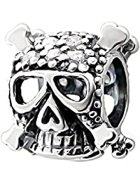 So Chic Joyas - Abalorio Charm Cráneo pirata Circonita Blanca - Compatible con Pandora, Trollbeads, Chamilia, Biagi - Plata 925