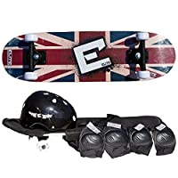 "Elite Street Sports 28"" Junior Skateboard Kit - Helmet, Knees/Elbow Pads, and Carry Bag"