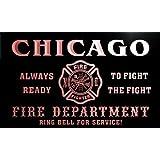 qy2053-r Chicago Fire Fighter Department Firemen Bar Barlicht Neonlicht Lichtwerbung