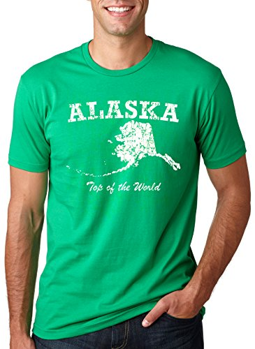 Crazy Dog Tshirts Alaska Top of The World T Shirt Funny State Tee Anchorage Frontier Tees (Green) 5XL - Herren - 5XL (Anchorage Green)