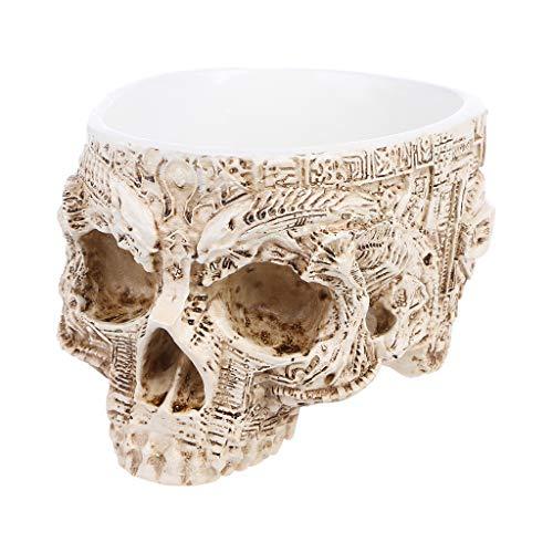 Xuniu Hand Geschnitzte Schädel Blumentopf, menschliche Schädel Knochen Schüssel Haus, Garten, Halloween Dekor 9,7x12,4 cm (Knochen Und Schädel Halloween)