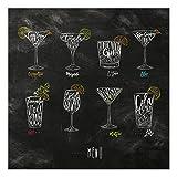 Bilderwelten Spritzschutz Glas - Cocktail Menu - Quadrat 1:1, Größe HxB: 59cm x 60cm