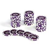 50 Poker-Chips Laser-Chips OCEAN-CHAMPION-CHIP Wert 500-12g Metallkern – Poker Texas Hold`em Black Jack Roulette - Kanten abgerundet - lila