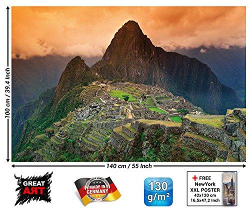Poster Machu Piccu Wandbild Dekoration Südamerika Peru Sehenswürdigkeiten Inka Stadt Ruine UNESCO Welterbe Kulturlandschaft | Wandposter Fotoposter Wanddeko Wandgestaltung by GREAT ART (140 x 100 cm) - 2