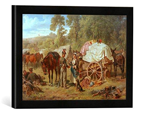 """Gerahmtes Bild von Eugen Adam """"Lager österreichischer Ulanen im Sommer 1859 bei Verona"""", Kunstdruck im hochwertigen handgefertigten Bilder-Rahmen, 40x30 cm, Schwarz matt"""