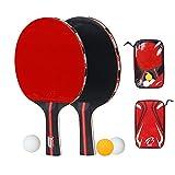 Pale di racchette professionale per allenamento ping pong racchetta pipistrelli con custodia per il trasporto e 3palline ping pong, 7strati di legno lama con manico lungo (pezzi)