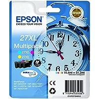 Epson 27XL C13T27154010 - Pack de 3 cartuchos de tinta, colores cyan, amarillo y magenta, XL, paquete estándar