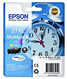Epson 27XL C13T27154010 - Pack de 3 cartuchos de tinta, colores cyan, amarillo y magenta, XL, paquete estándar WorkForce WF-3620DWF,WF-3640DTWF,WF-7110DTW,WF-7210DTW,WF-7710DWF,WF-7715DWF,WF-7720DTWF,