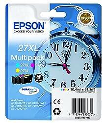 Epson Alarm Clock No.27 Xl Series High Capacity Ink Cartridge - Multi-coloured, Pack Of 3
