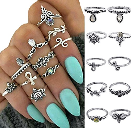 Boho Women Knuckle Ring Midi Finger Tip Rings Set Punk Style (10pcs)