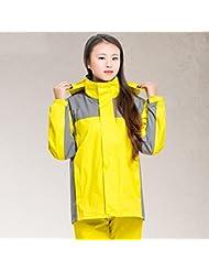 Solo impermeable para hombres y mujeres juntas traje impermeable adulto al aire libre Split impermeable pantalones traje (azul / rojo / amarillo) ( Color : Amarillo , Tamaño : X )