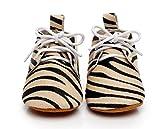 Backbuy Bébé Filles Cuir Motif de Zèbre Lacets Up Chaussures Premiers Pas 0 à 24 mois (18-24 mois, Jaune)