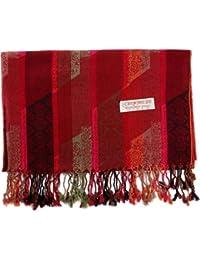 HITSAN INCORPORATION Pashmina Silk Shawl Paisley Stripes Scarf Wrap Hijab  Stole Autumn Spring Winter Soft Long 7f149397115
