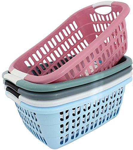 Wäschekorb Wäschekörbe Plastik Kunststoff Wäsche Korb Farbauswahl (Gute Qualität) (Rosa)