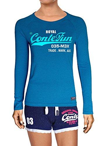 M.Conte Damen T-Shirt Langarm T Sweat-Shirt Neon-Pink Lila Grau Blau Türkis Schwarz Marine Navy Blau S M L XL Farbe Romana Lang ( L Azur Royal Blau ) (Grau Shirt Training Marine)
