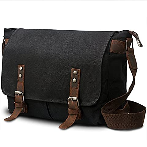 SUVOM® Mens Canvas Laptop Messenger Bag Leather Crossbody Shoulder School Satchel-14 (Tela Sling)