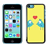 Slim hard design case cover Hülle schale für Apple iPhone 5 °C, Kunst/Cartoon Birds Love Kiss Heart Blue hier kaufen