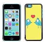 Slim hard design case cover Hülle schale für Apple iPhone 5°C, Kunst/Cartoon Birds Love Kiss Heart Blue hier kaufen
