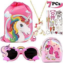 VAMEI 7Pack Favores de Regalo de Fiesta Unicornio para Niños Unicornio Drawstring Gift Goodie Bags Unicorn Glasses Necklace Earring Purse Wallet Stickers