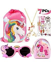 VAMEI 7Pcs Unicorno Regali per Ragazze Zaino Unicorno Borsa Bambina Collana Unicorno Occhiali Orecchini Tatuaggi Temporanei Bambini