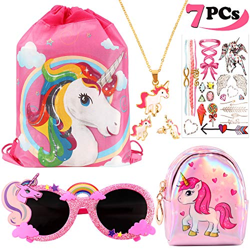 VAMEI 7Pack Favores de Regalo de Fiesta Unicornio para Niños Unicornio Drawstring Gift Goodie Bags Unicorn Glasses Necklace Earring Purse Wallet Stickers