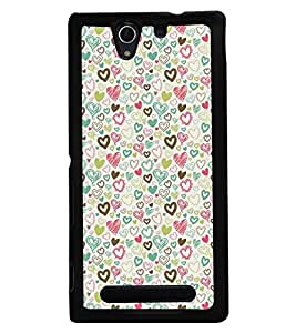 Fuson Premium Valentines Gift Metal Printed with Hard Plastic Back Case Cover for Sony Xperia C3 Dual