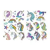 Oblique Unique Einhorn & Regenbogen Sticker Tattoos mit Glitzereffekt - wunderschöne, farbenfrohe Einhörner & Regenbogen als temporäre Tattoos