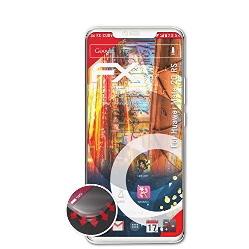 atFolix Schutzfolie passend für Huawei Mate 20 RS Folie, entspiegelnde & Flexible FX Bildschirmschutzfolie (3X)