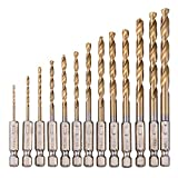 WIDEN 13pcs Hexagon Handle Twist Drill Set Hex Shank Twist Drill Bit For Wood Plastic Metal