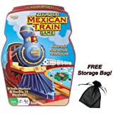 Mexican Train Game with Double 12-Color Dominoes Set and Electronic Sound Effect Game Hub in Tin Storage Container with Free Storage Bag by Poof Slinky