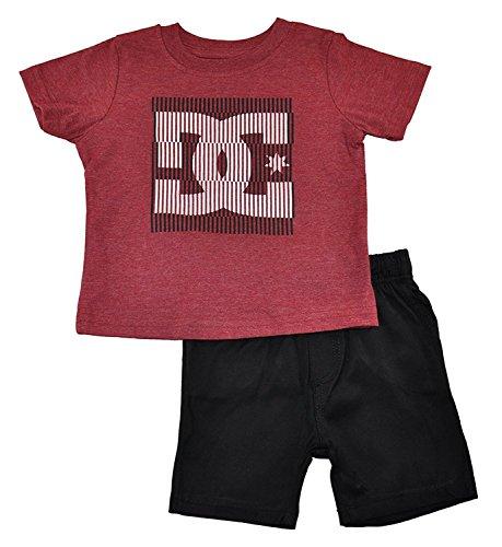 DC Shoes Baby Boys Logo Top 2pc Short Set Burgundy