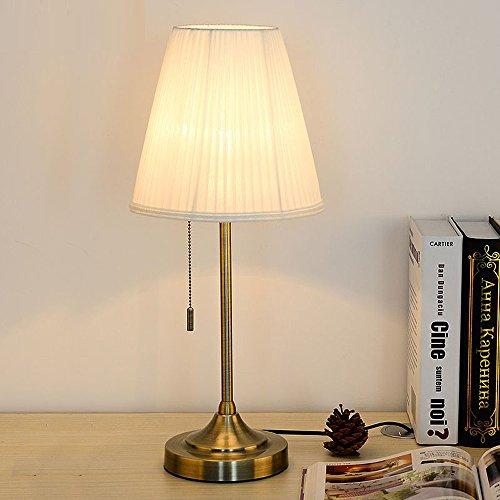 Amerikanische Bronze Metal Study Room Schreibtisch Lights mit Switch Europäischen Schlafzimmer Kopfenden Hundert plissierten Stoff Lampenschirm Tischleuchte (weiß)