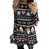 Fascigirl Women's Christmas Dress Santa Printing Long Sleeve Party Dress