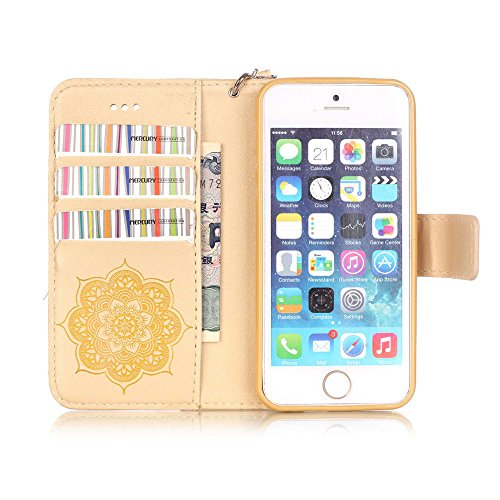 Nutbro iPhone 5S Case,iPhone 5 Case,Flip Wallet Pu Leather Case Stand Cover with Credit Card Slots Case for iPhone 5S/SE Gold