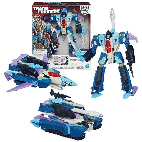 Hasbro Year 2013 Transformers Generations Thrilling 30 Series Triple Changer Voyager Class 7 Inch Tall Robot Action Figure - Decepticon DOUBLEDEALER with Sword, Blaster, Missile Launcher and 1 Missile (Alternative Mode: Fighter Jet or Battle Tank) by Transformers (Jet-blaster)