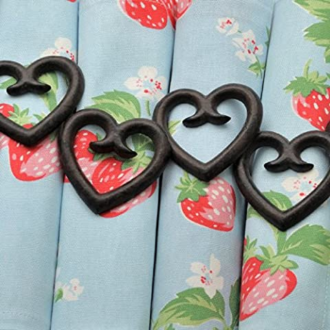 Hill Interiors Heart Shaped Napkin Rings (Pack Of 6) (One Size) (Black)
