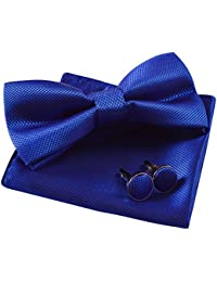 Solid Pre-tied Bow Tie Cufflinks Hanky Set for Men Neck Wear, Royal Blue