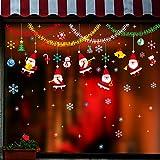 Decorazione per albero di Natale campana il simbolo del fiocco di neve atmosfera di vacanza Glass Window sticker adesivo parete anziani Addobbi finestra 124 * 65cm