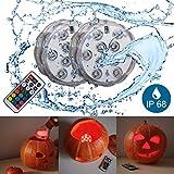 B.K.Licht LED Unterwasserlicht | Unterwasserbeleuchtung | Teichbeleuchtung | Halloween Kürbislicht | inkl. Fernbedienung | Farbwechsel | RGB und Wasserdicht | Wasserbeleuchtung für Vase | Dekoration