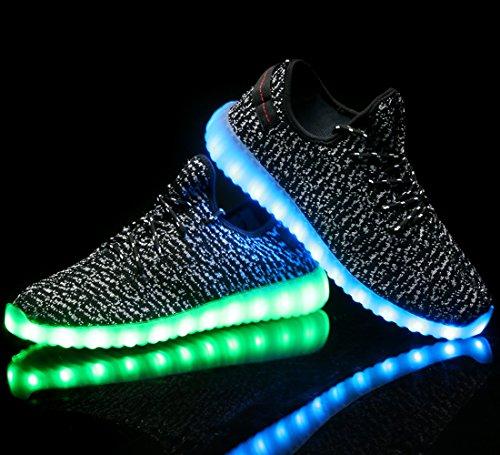 X-MOKE 7 colori alla moda, unisex, da uomo, donna, carica USB Scarpe luminosi luce LED lampeggiante Scarpe da camminata alto sopra LED calzature per lo sport, Scarpe da ginnastica Nero