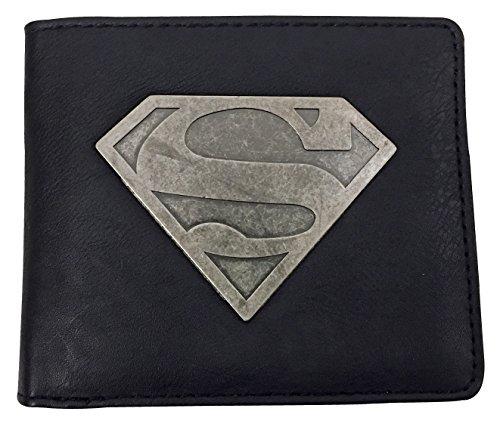 DC Comics - Homme Fantaisie Nouveauté Adulte Noir Portefeuilles avec Superman Métallique Badge / Emblème pour Geek