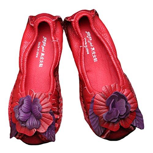 Vogstyle Donne Primavera/Estate Vintage Fiori Fatto A Mano Pelle Scarpe Stile-9 Rosso