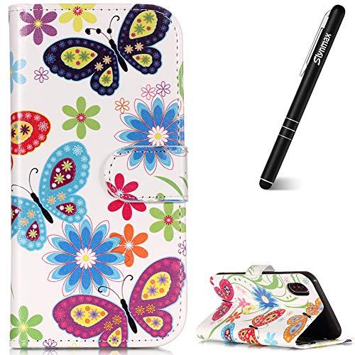 Slynmax Glitzer Hülle für Samsung Galaxy S9 Plus 2 in 1 Schicht Stand Soft Gel Glitzer Bling Diamant Silikon Cover + 1x Stylus Pen Bow tie -