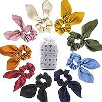 Coleteros para el pelo, de terciopelo, elásticos, suaves, de gasa, con lazo de flores vintage, para niñas y mujeres, con bolsa de almacenamiento