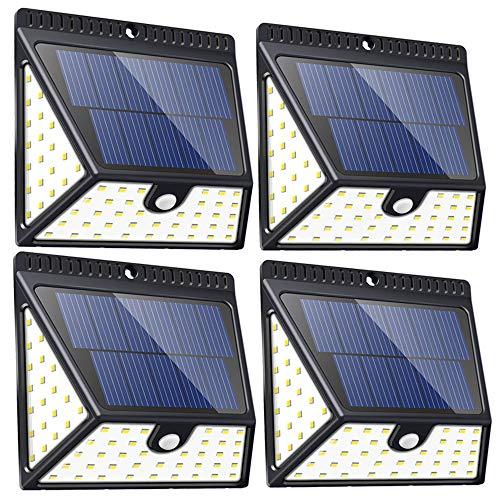Aufgerüstete 82 LED Solarlampen für den Außenbereich, Bewegungssensor Solar Led Sicherheitslampen, kabellose wasserdichte superhelle Wandleuchten mit Weitwinkel für Vordertür. 4-pack