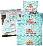Unbekannt 2 TLG. Set _ Bettenset - Steppdecke & Kopfkissen -  American Dinner - Fast Food  - 135 x 200 cm & 80 x 80 cm - 100 % Microfaser - 4 Jahreszeiten - für Kinde..