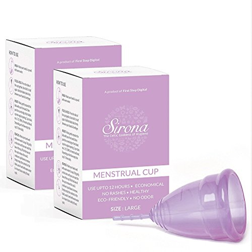 Sirona Menstruationsschale, Feminine Hygiene Schutz Zeitraum Schale, wieder verwendbare Menstruationsschale, die Ihre monatlichen Blutfluss - Groß (kaufen Sie 1, erhalten Sie 1 kostenlose sammelt)